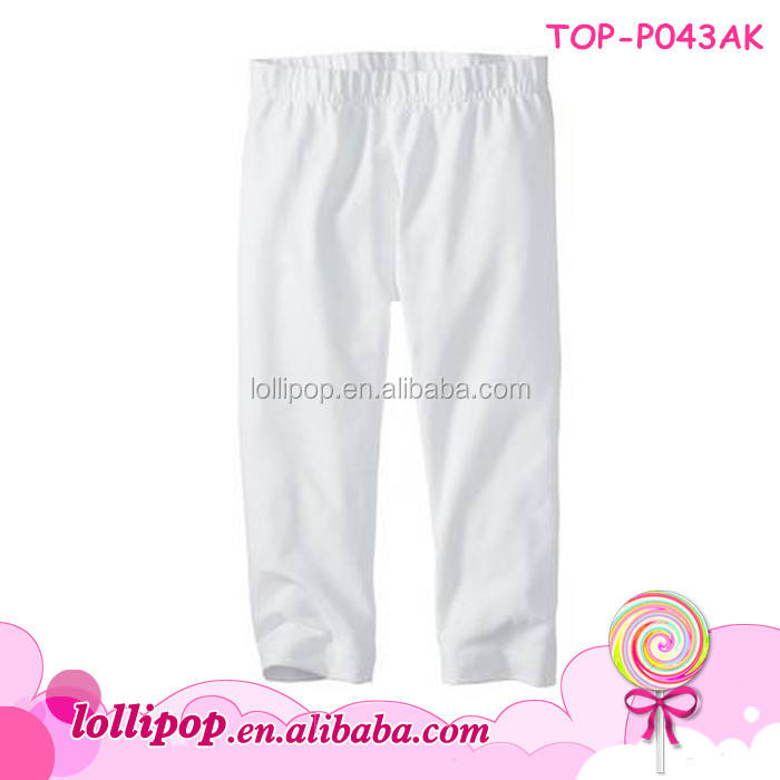 Design branded organic cotton baby solid color long white pants cheap girls leggings