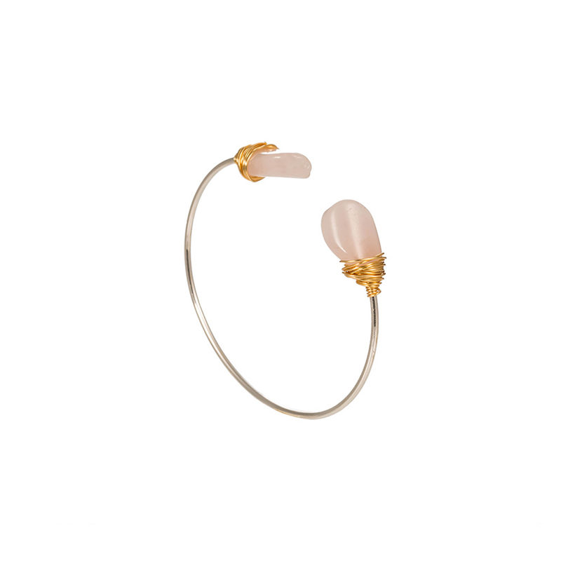 Yiwu Jewelry Pink Powder Stone Open Cuff Bracelet Bangle Women