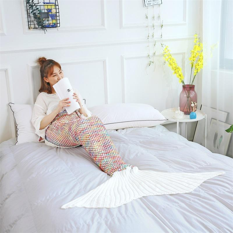 New 1 Ply Multicolor Knitting Super Soft Korean Quality Mermaid Throw Blanket