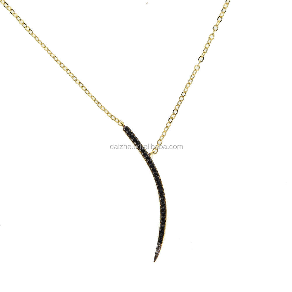 micro pave black cubic zirconia gold plated crescent moon curved cz thin bar pendant fashion two tone gold necklace