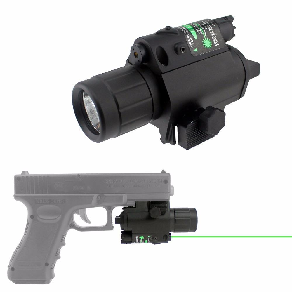 2 in 1Tactical Green Laser Sight With 20mm Rail ar15 laser flashlight combo for Pistol