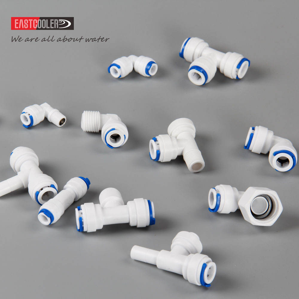 White POM Quick Water Tube fittings 1/4, 3/8, 1/2, 5/16, 12mm Push Fit Connector for RO Water System Quick Connect Fittings