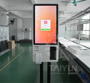 24 inch commercial stand totem self service cashless payment ordering kiosk with barcode scanner thermal printer in restaurant