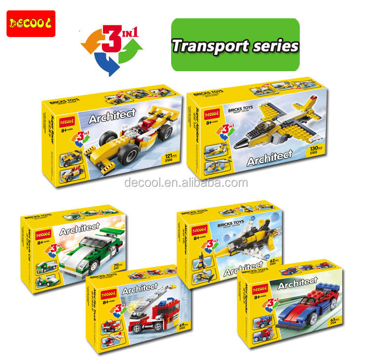 Decool 3101-3106 mini transport series 6 types vehicles plastic material building blocks and bricks Christmas Gift