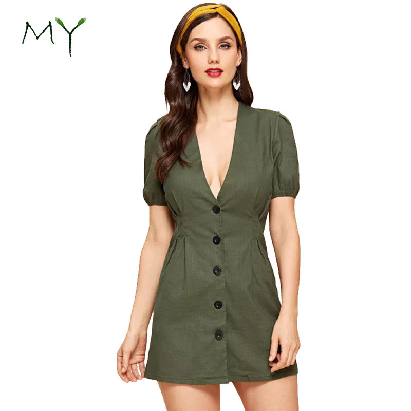 Women Deep V Neck Short Sleeve Single Breasted Army Green A-line Mini Linen Dress
