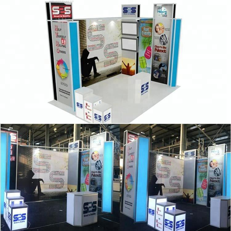 Detian offer customize aluminum back-lit exhibition expo stands for trade show