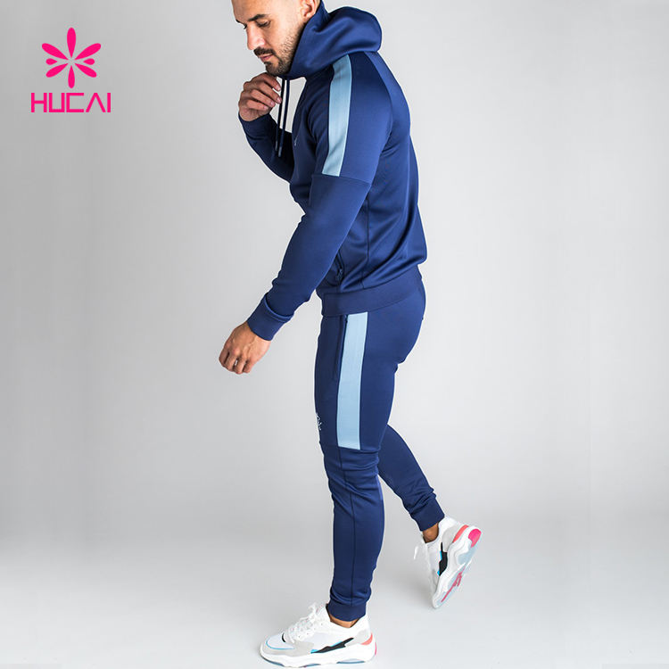 Wholesale Gym Sportswear Fleece Tech Mens Plain Striped Tracksuit