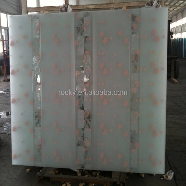 Rocky factory produce 3mm 4mm 5mm 6mm 8mm 10mm acid etch back painted glass acid etch glass