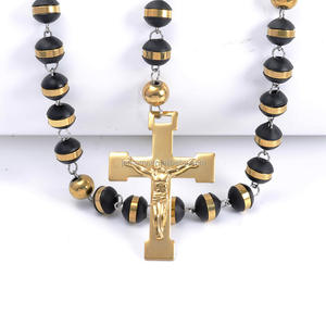 Faithful Black Rubber Beads Lourdes Catholic Rosary in Gold Color Cross Necklace Pendant