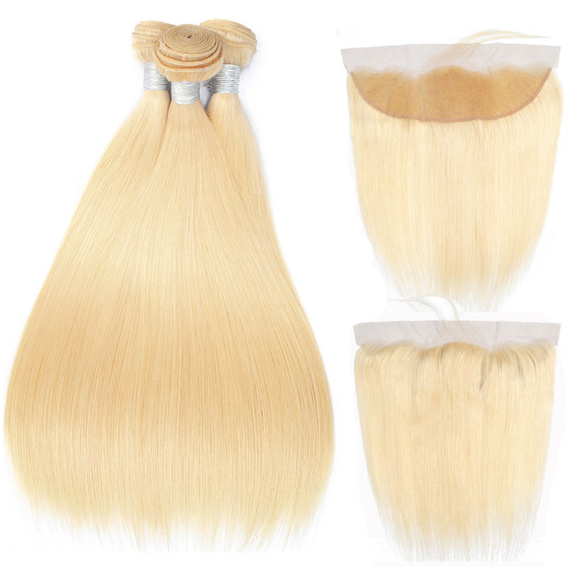 Ms Mary 10A Grade Silky Straight 613 Blonde Brazilian Human Hair Bundles with Ear to Ear Lace Frontal
