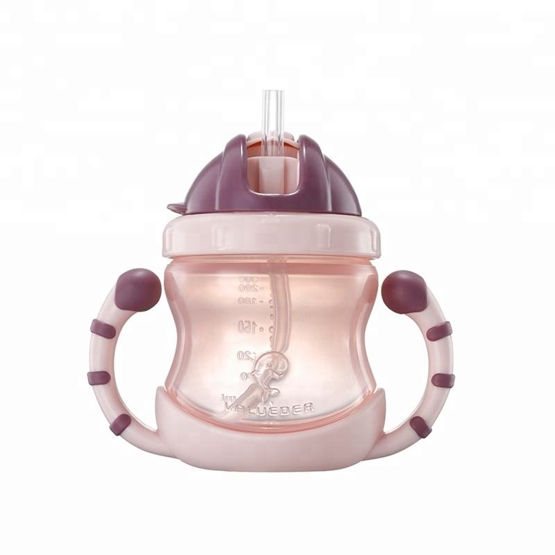 Cute style 200ml pp silicone baby training cup baby feeding bottle with straw