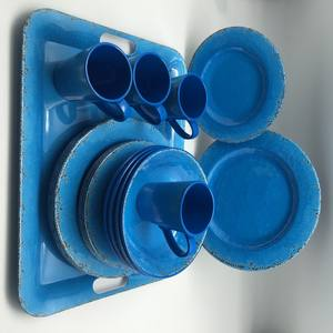 Rustic Aqua Blue Melamine dinner set set of 16