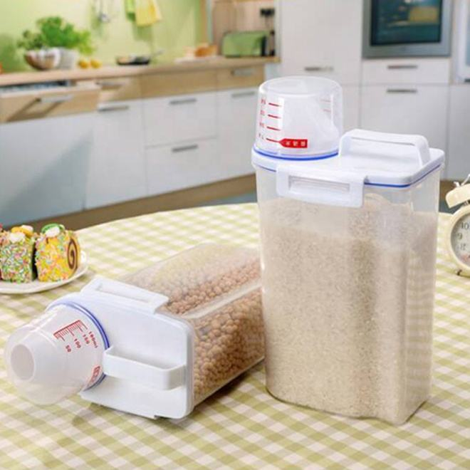 Wholesale plastic Food storage BPA FREE airtight rice container boxes bin for cereal