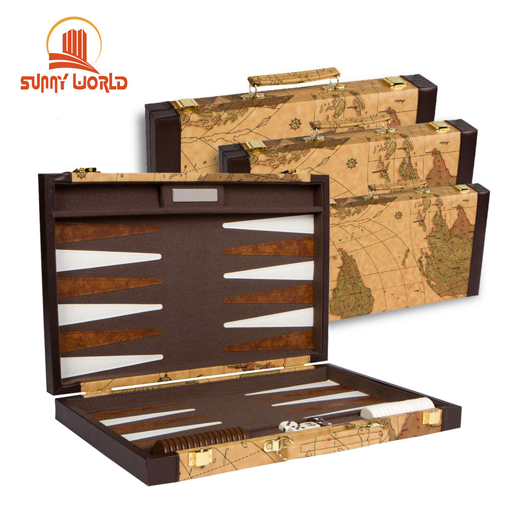 Custom Travel Checkers Holz Backgammon Bord Chips Backgammon Set Leder Backgammon