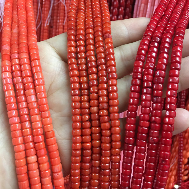 "JS005 16"" strand Flat round Red color spacer coral loose beads"
