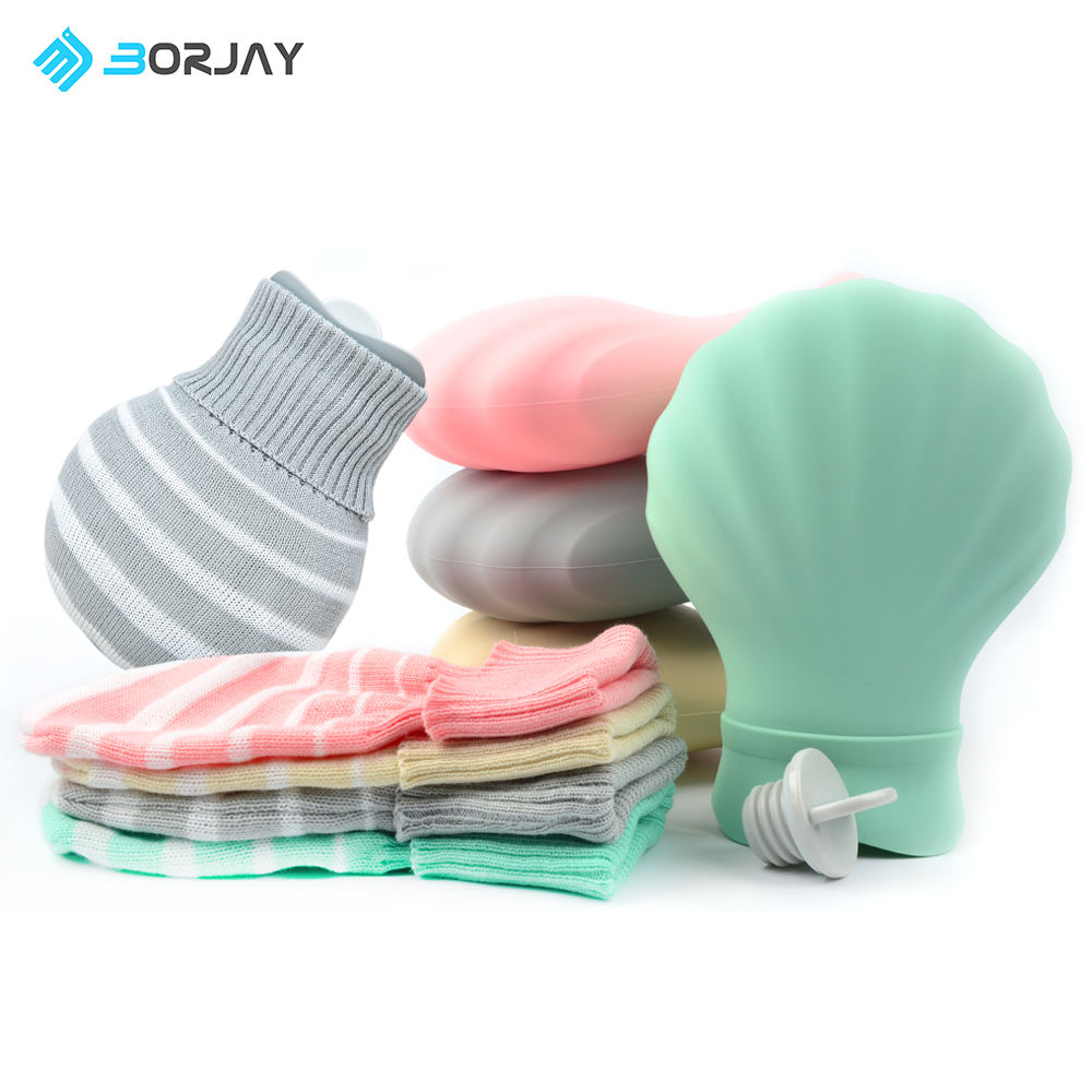 China Factory Silicone Portable Hot Water Bottle Hot water Bag with Knit Cover