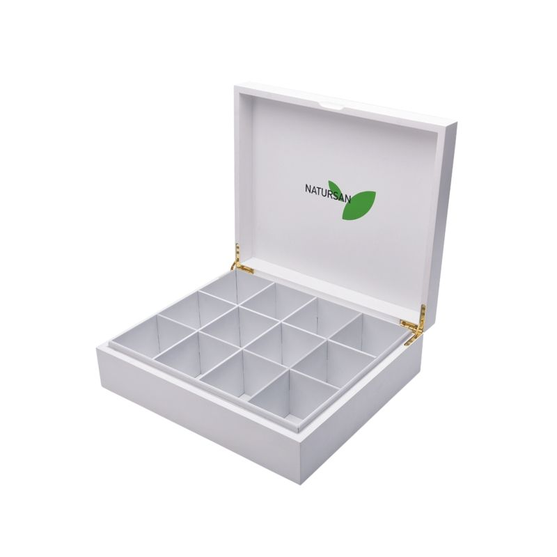 factory high quality 12 compartment tie gift storage package wooden display box