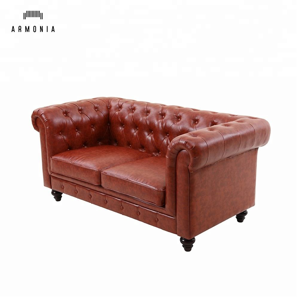 chesterfield sofa faux leather american standard modern luxury vintage living room furniture dark red