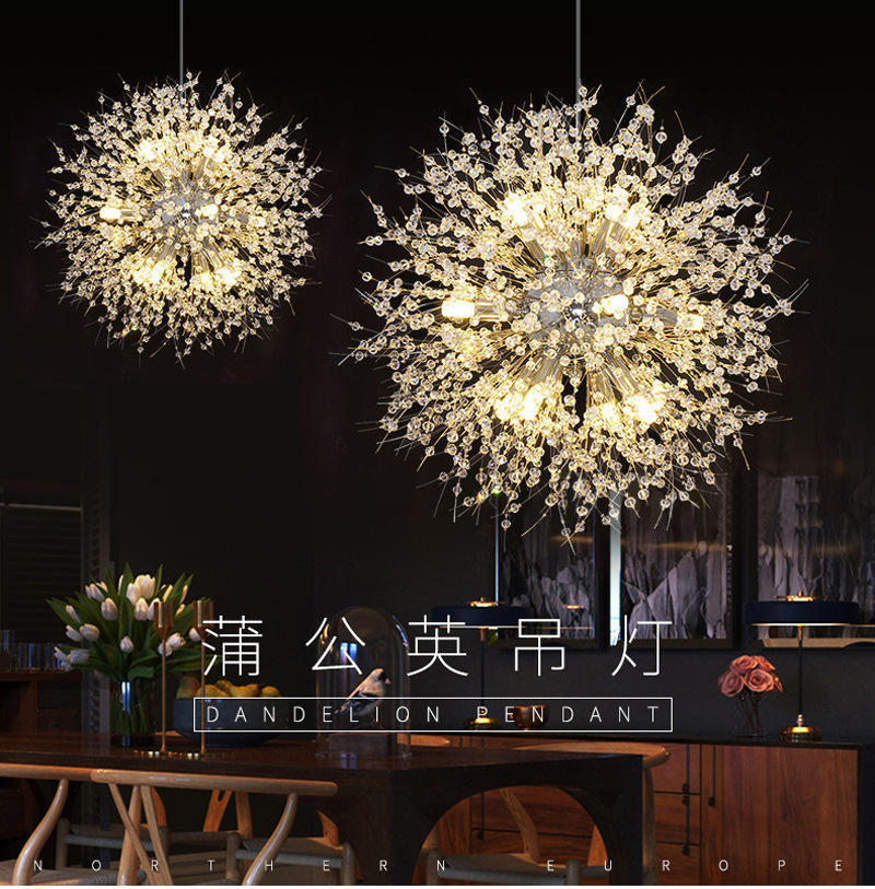 Dandelion pendant lamp LED round crystal ball hanging lamp decorative flower crystal chandelier K9 hanging