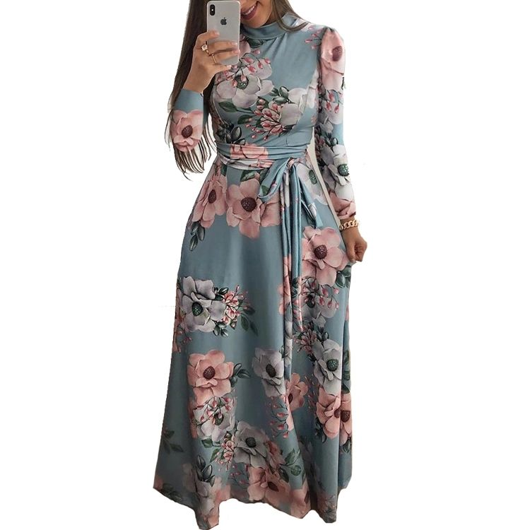 Hot Wholesale new styles arabic women dress turtleneck floral muslim long sleeve maxi dress