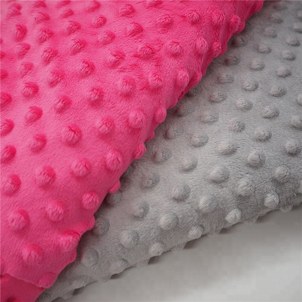100% polyester 380gsm minky dot plush fabric for baby