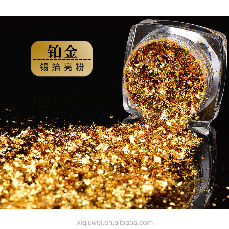 Gold Platinum Flakes Pigment Powder For Nail Art