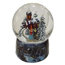 Christmas Tune Porcelain Snow Globe with a Winter Church Scene and a Singing Family Carolers