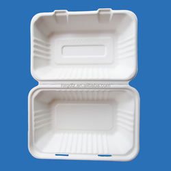 "9""*6""*3"" Take Away Food Container Sugarcane Pulp Disposable Biodegradable Tableware Lunch Box"