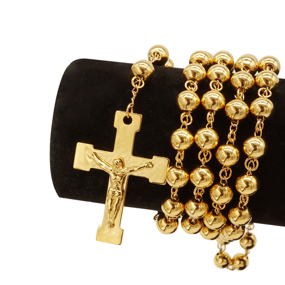 Beiyan jewelry high quality cross pendant beads gold plated stainless steel rosary necklace