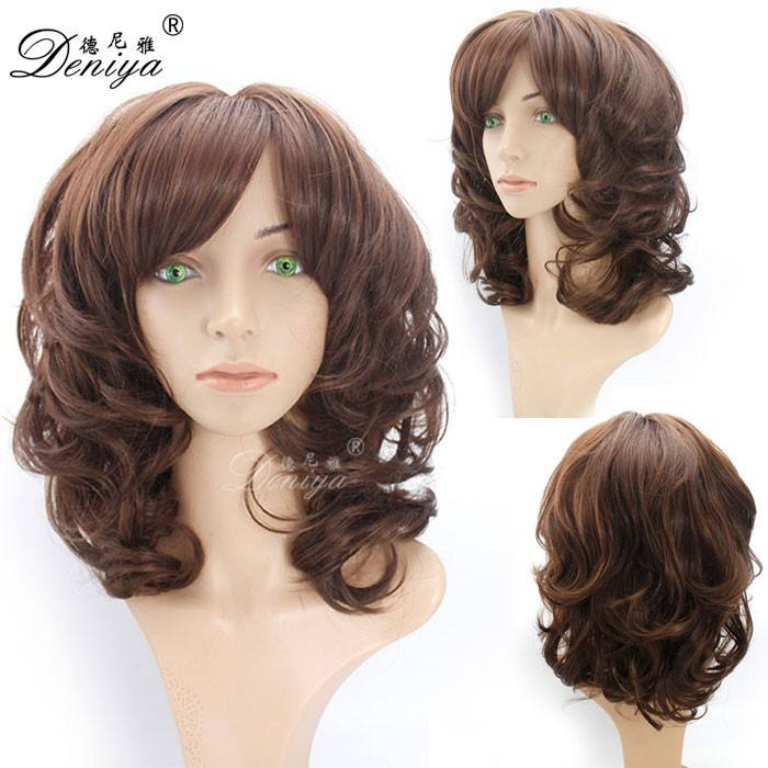 Machine Made Wig [ Hair Synthetic ] Wig Type And Non-Remy Hair Grade Synthetic Wig PELUCAS