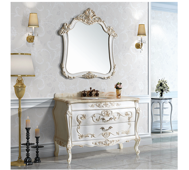 hot-selling high quality antique bathroom furniture with ceramic single sink jade marble bathroom cabinet H8822-1C