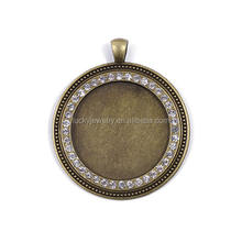 High Quality Round Shape Crystal Trays Pendant Charm Pendant Bezel Pendants Blanks Base Settings DIY Accessories Fits Cabochon