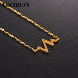 LOORDON Stock bijoux De Mode collier simple en acier inoxydable or bat collier
