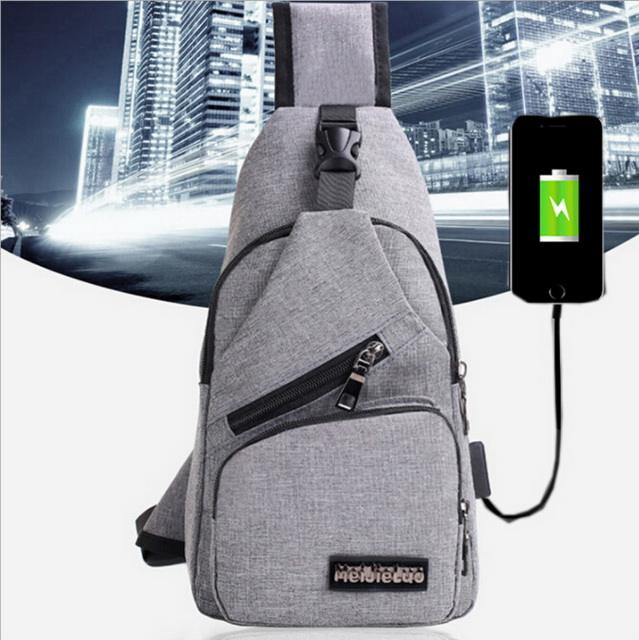 Canvas sling chest bag sport crossbody shoulder sling bag backpack with usb charger