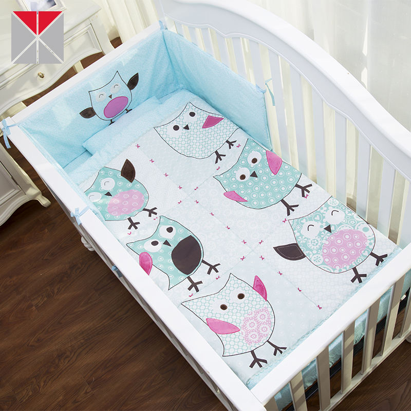 Lovely owll printing polyester embroidery boy cartoon design baby crib bedding set