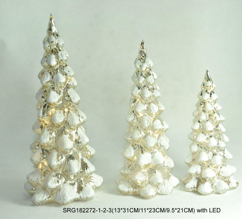 wholesale led lighted mercury glass christmas tree for home decoration