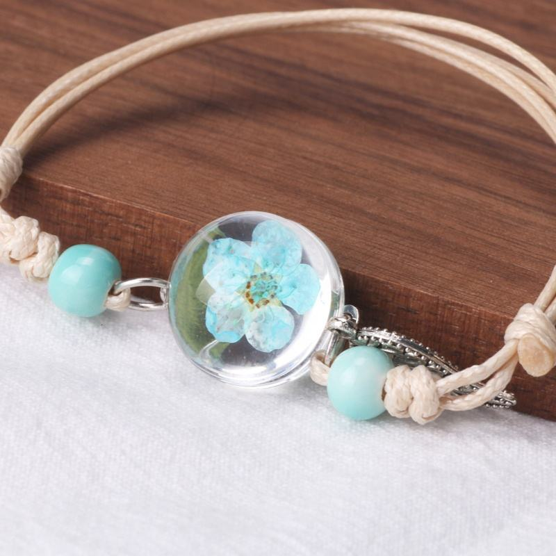 wholesale resin glass 12 colors dried flower bracelet with leaves