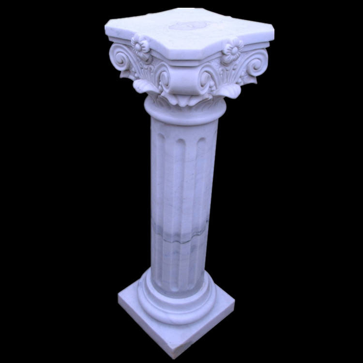 Antique White Marble column Pedestal with Flowers carving