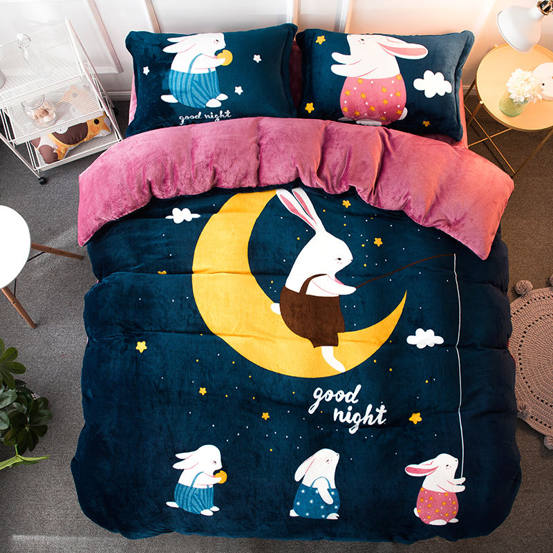 Cartoon Latest Design Home Textile Winter Flannel Thickened Baby Comforter Sets Queen Size
