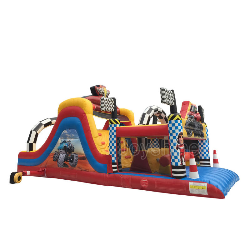 Car Theme Bouncy Castle Obstacle Course Kids Adult Inflatable Bounce Obstacles Equipment For Events