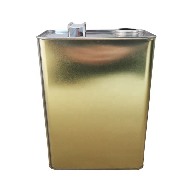 Empty 4L Square Motor Car/Auto Oil Tin Cans with Metal Finger Press Lid and Metal Handle