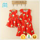 2017 new arrival summer baby girls and ladies dress with printed rose design for family photo shoping match wear