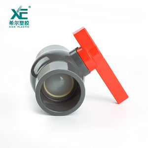 High quality plastic fitting red handle grey color upvc compact ball valve for swimming pool