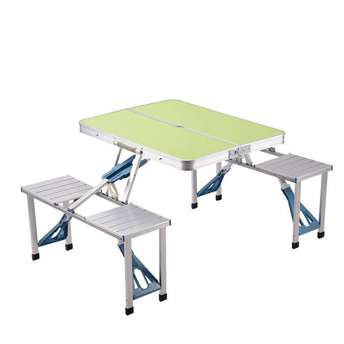 Portable Aluminum Folding Outdoor Heights Adjustable Camping garden Suitcase Picnic Table with 4 Seats