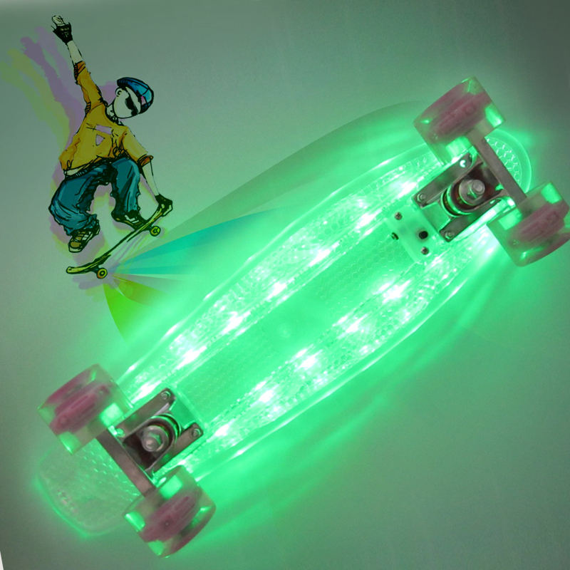 Venda fábrica 22 ''LED flash PC Cruiser Skate skate Moda Luzes Led Portátil