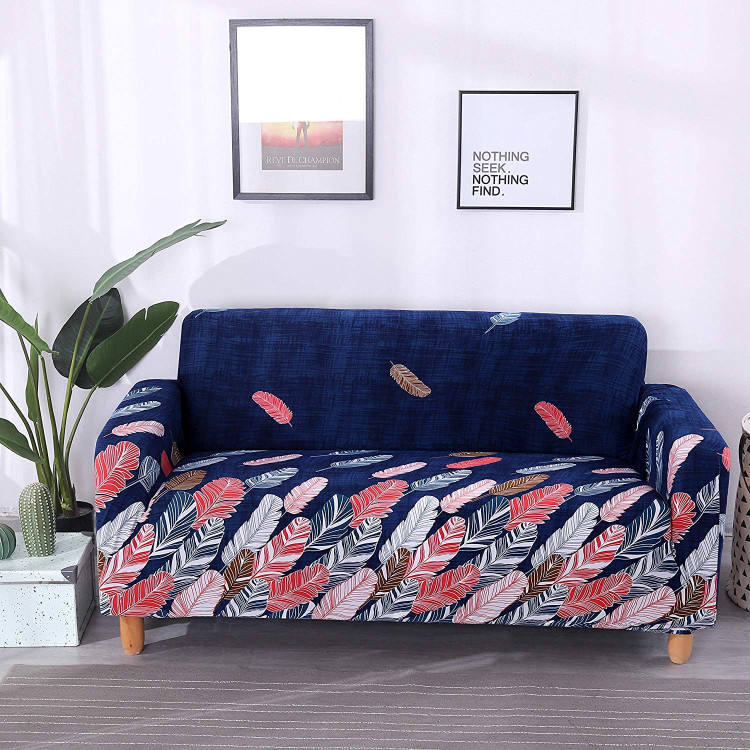 Colorful Leaves Design Printed Stretch Sofa Cover, Elastic Protector for Sofa, Made in China Sofa Slipcover