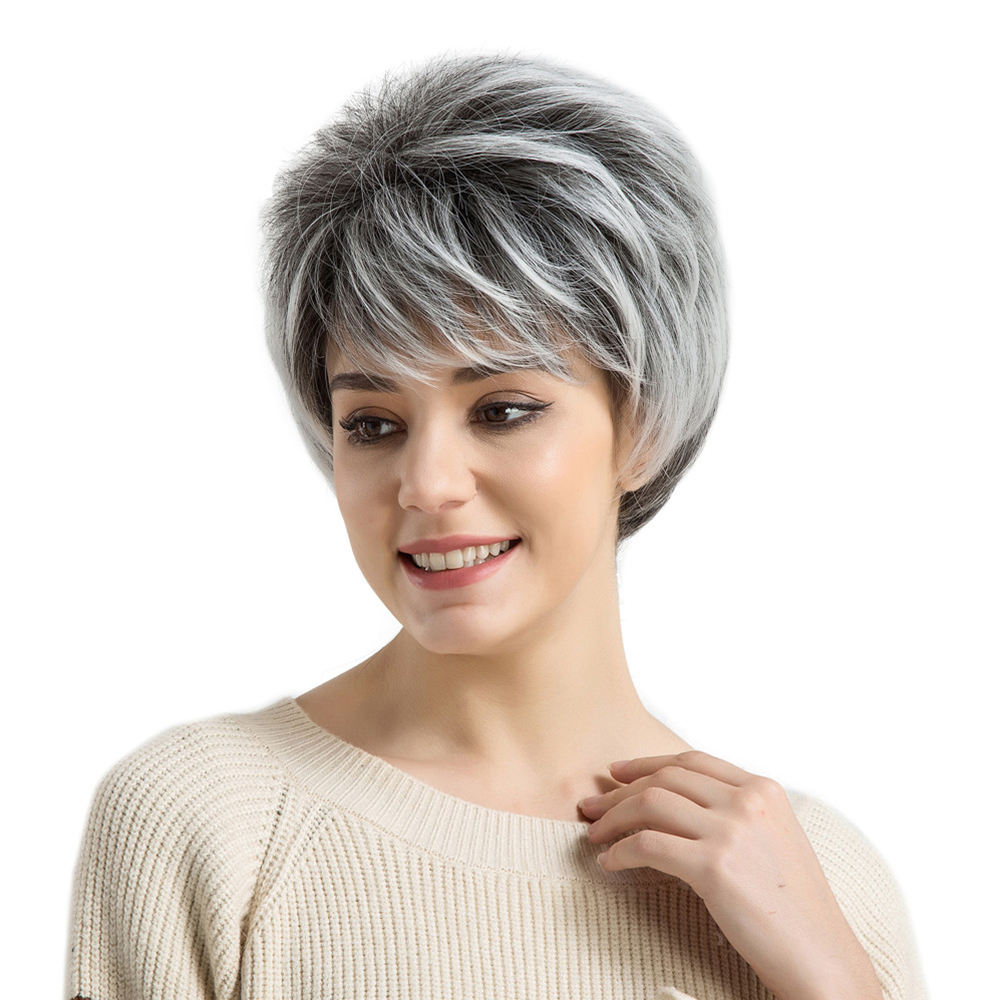 Inteley Grey and white short hair synthetic hair for wig making