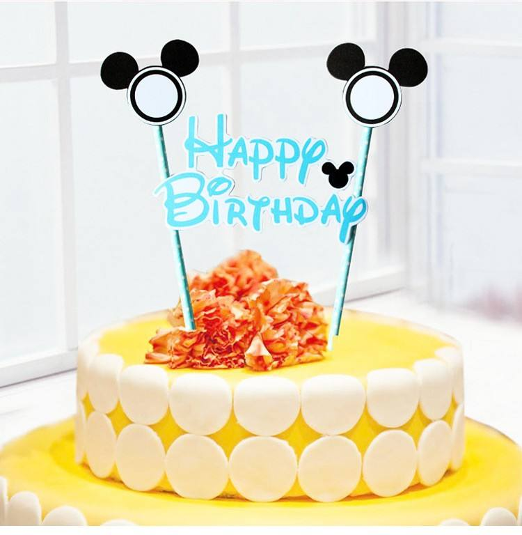 <span class=keywords><strong>Mickey</strong></span> <span class=keywords><strong>Mouse</strong></span> Felice Compleanno Lettera Garland Cake Topper Pavese Set per I Bambini Decorazione Del Partito