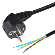 Black 16A 250V Two Pin European Power Supply Extension Cord Cable with Stripped Female End