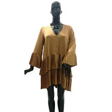 Wholesale High Quality Casual Ruffle Dress for Women Golden Color Blouse Designs Dress